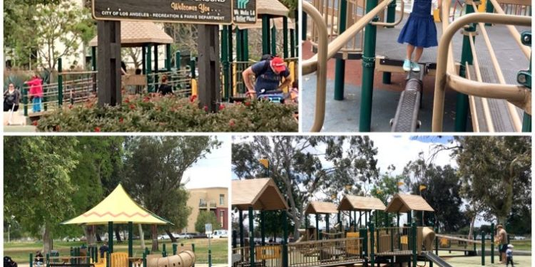 Hansen Dam Recreation Area, next to Discovery Cube Los Angeles, is a great park for kids and toddlers. You'll find lots of space to run around, play structures with swings, a skate park, picnic tables and much more! #losangeles #familytravel #discoverycube