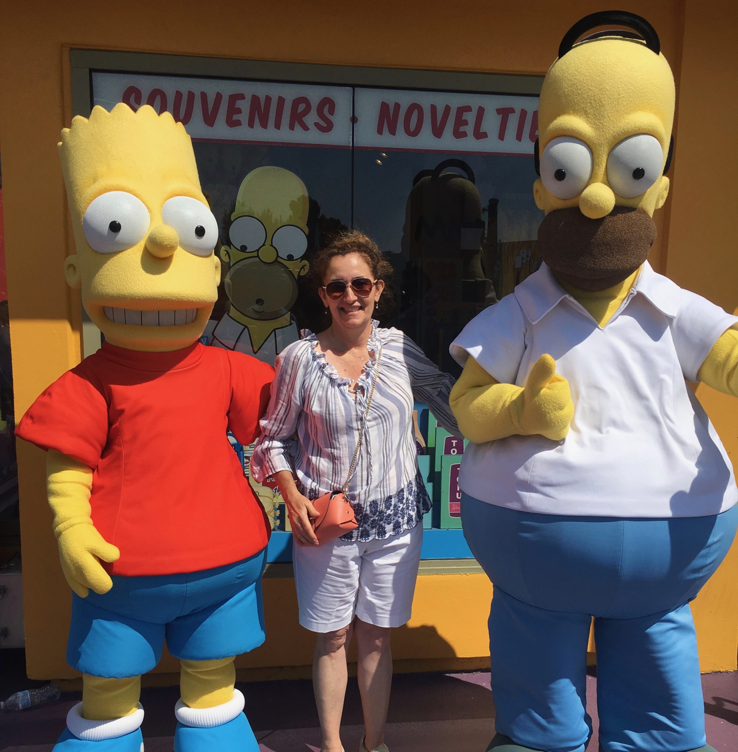 Simpsons characters posing at Universal Studios Hollywood