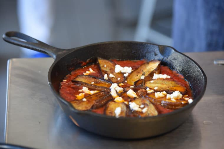 A shakshuka - an eggplant dish we made a The Gourmandise School in Santa Monica. #santamonica #cooking #eggplant #cookingschool #dinner