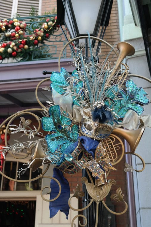 Blue Jazz themed decorations at Disneyland New Orleans Square
