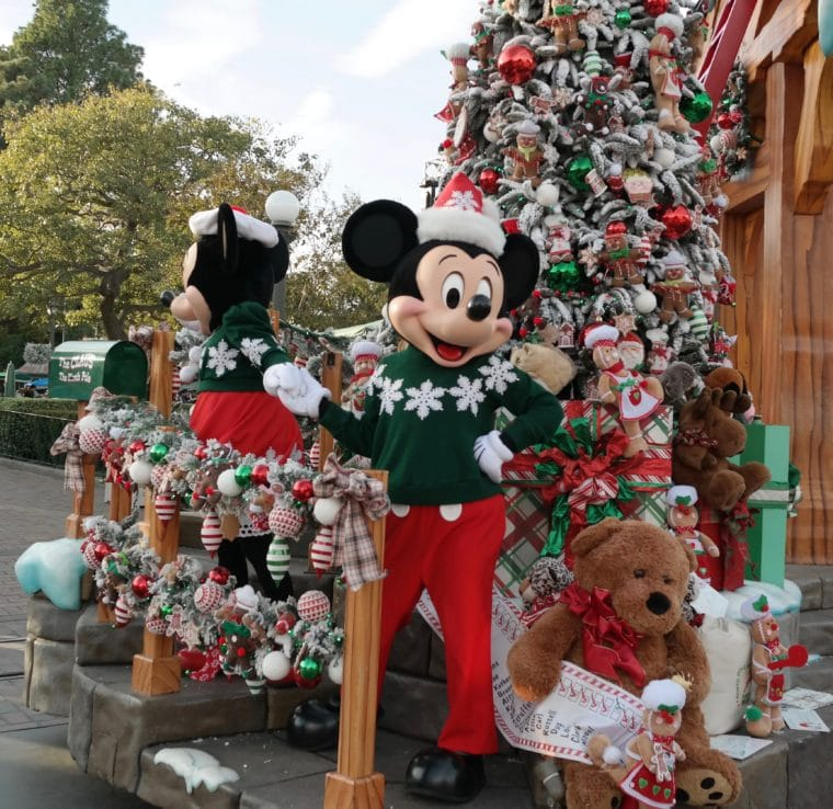 Mickey and Minnie Mouse in the Christmas Fantasy Parade at Disneyland