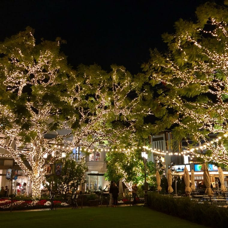 The Grove shopping center is one of the great places in Los Angeles to see Holiday Lights. There is also an amazing Santa's House for kids to see. #thegrove #holidaylights #christmaslights #mall #holidayshopping