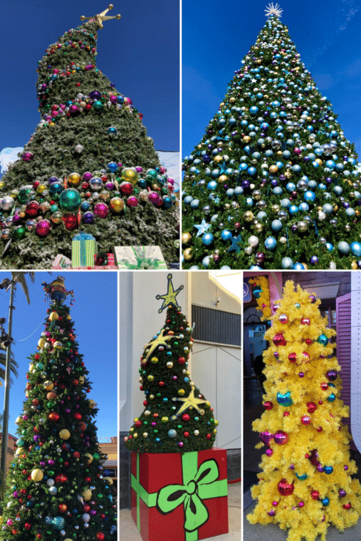 Universal Studios Hollywood is all decked out for the holidays! Check out the Christmas Trees of Universal #universal studios #Christmasuniversalstudios #christmastree #familytravel