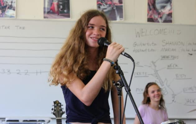 Amplify Sleep Away Camp for girls has several different tracks for campers including rock band, photography, journalism and coding. #girlpower #girlcamp #summercamp