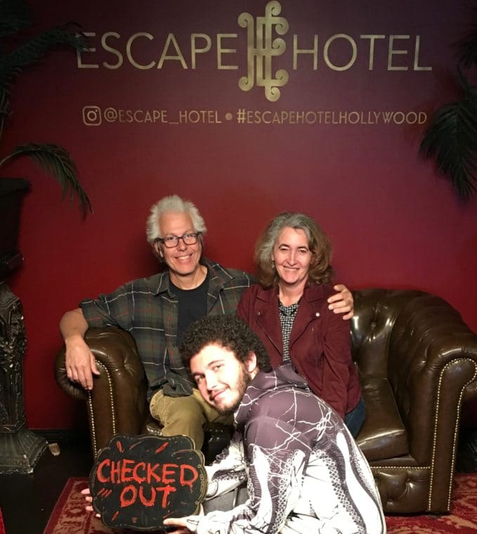 the author and her family at Escape Hotel Hollywood
