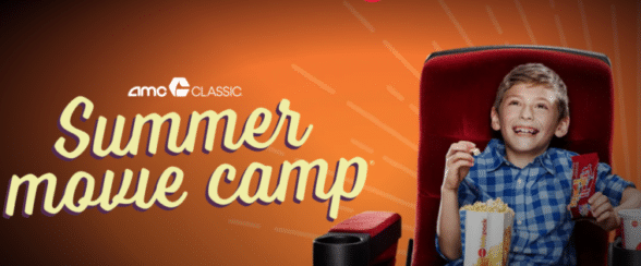 little boy watching a movie and eating popcorn text AMC theaters Summer movie camp