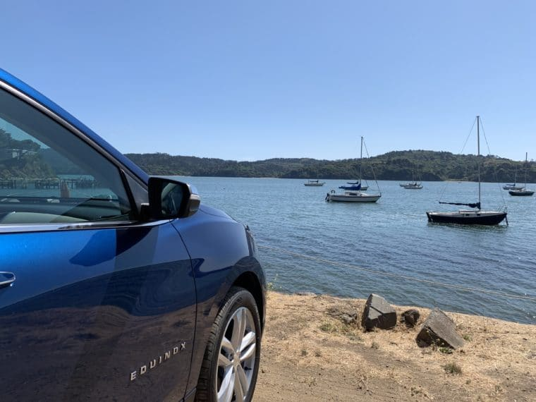 Chevy Equinox stopped along Tomales Bay