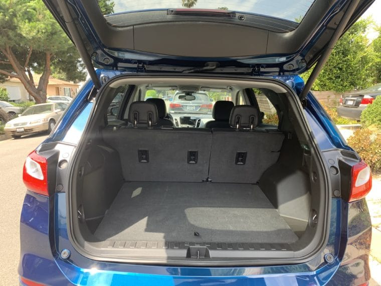 Chevy Equinox rear cargo area - plenty of room for all our stuff!
