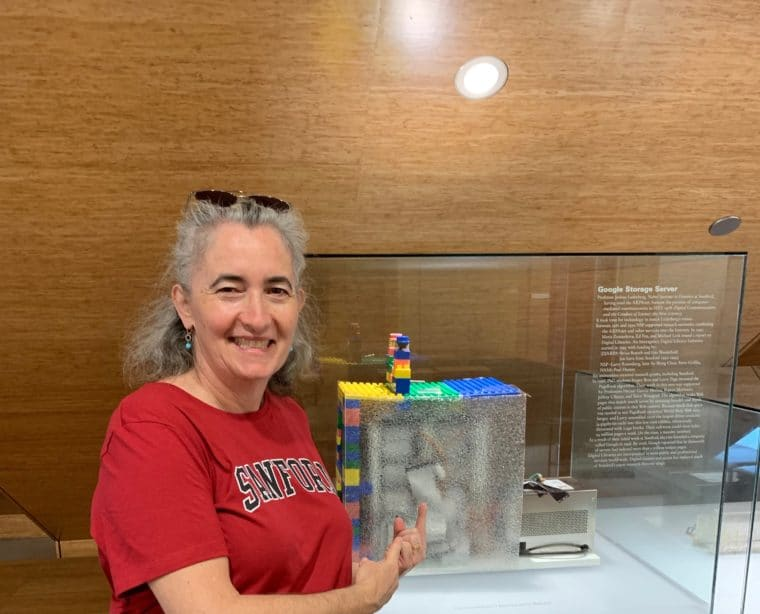 sarah pictured with the first Google server at Stanford University