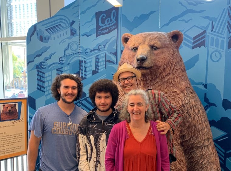 my family at Cal Berkeley with a bear