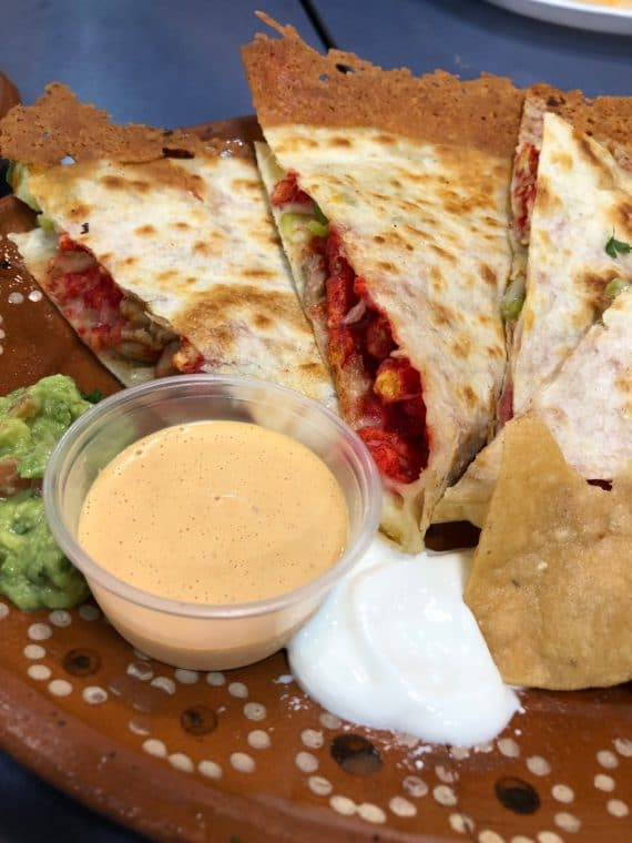 fried cheese taco and quesadilla at cilantrolime restaurant