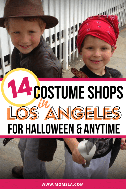 best halloween stores near me in los angeles with two young boys dressed up as Indiana Jones and a pirate