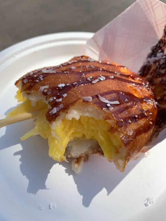 deep fried pineapple on a stick at 2019 LA County Fair