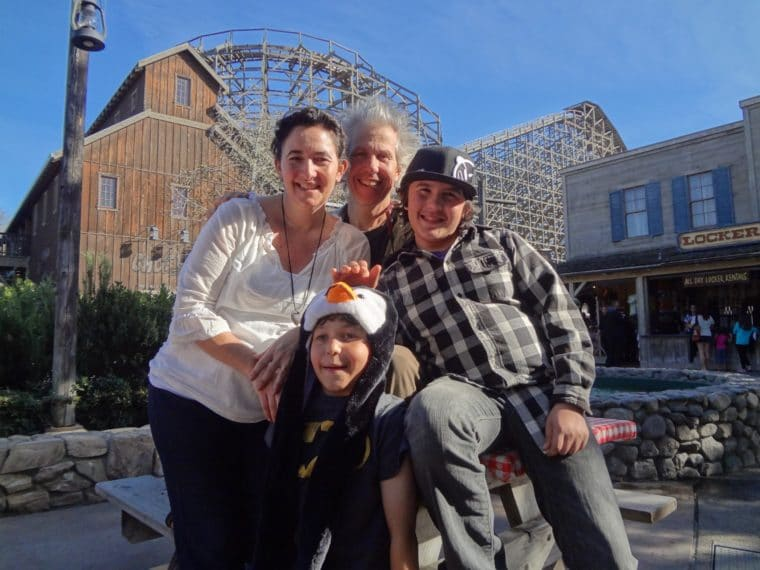 sarah Auerswald and her family at Knotts