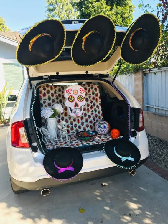 Lake Balboa trunk or treat decorated for day of the dead