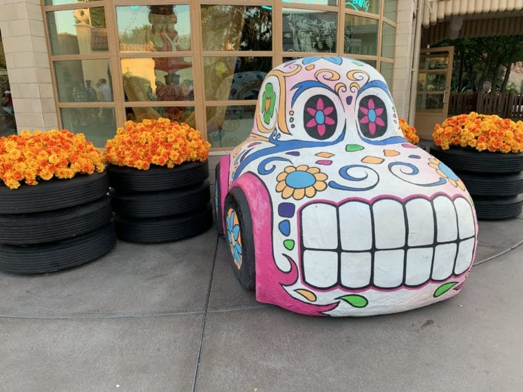 Ramon painted as a calavera for Day of the dead in Carsland Disney California Advnture