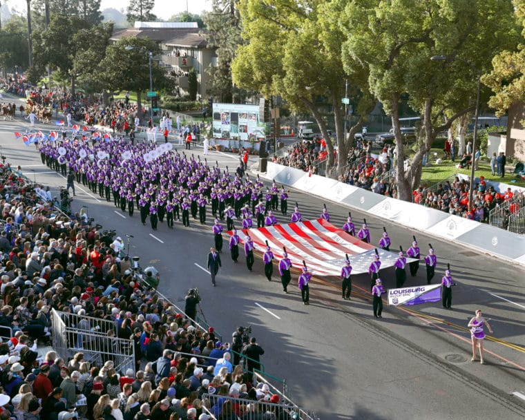 The Louisburg High School Marching Wildcat Band, photo courtesy of the Tournament of Roses