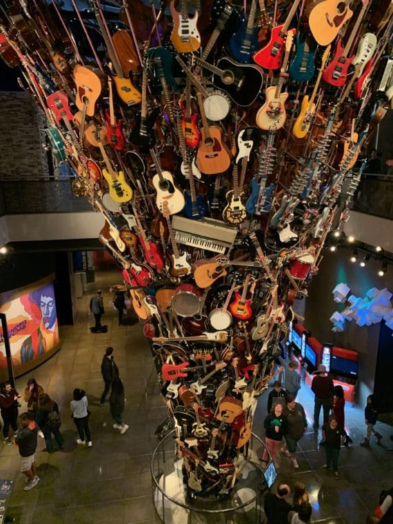 Sculpture made of retired guitars at the Museum of Popular Culture (MoPOP) Seattle
