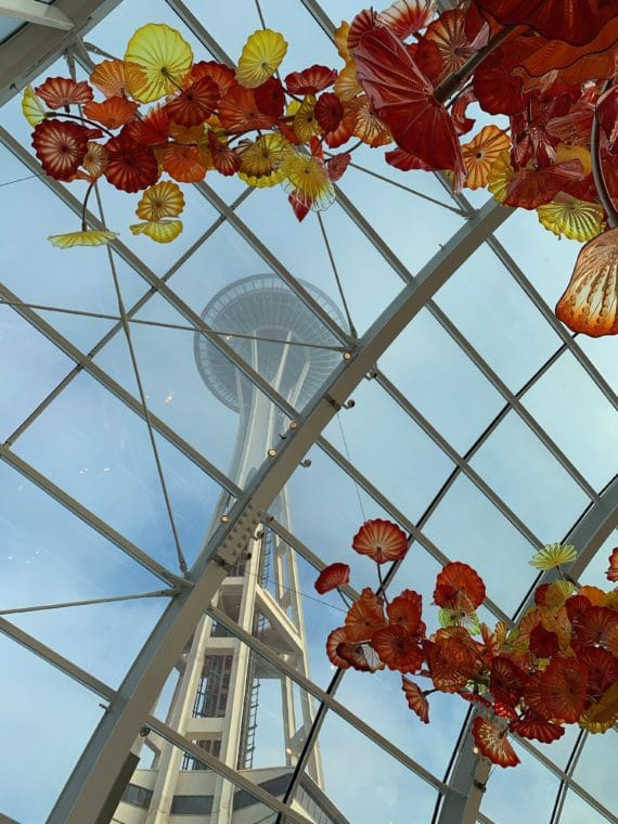 view of space needle from Chihuly glass museum