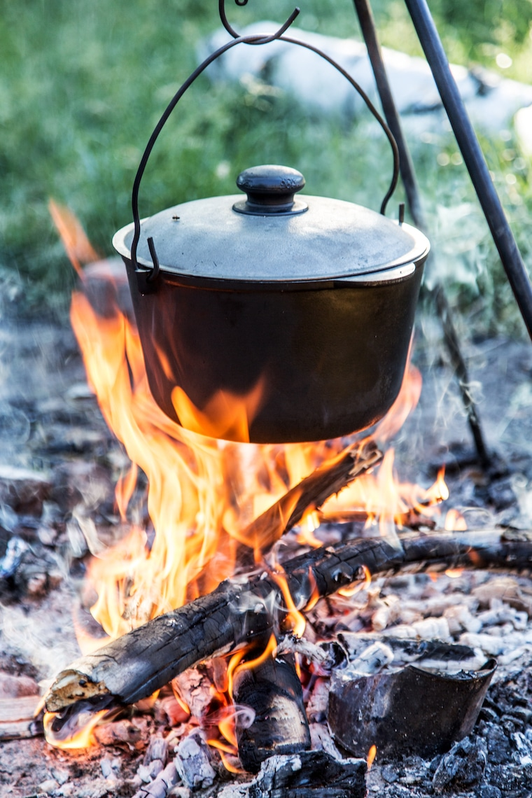 Cooking pot over the flames in the forest