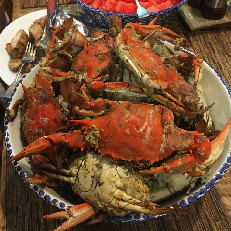 Cooked Maryland Blue crabs in a bowl on a table