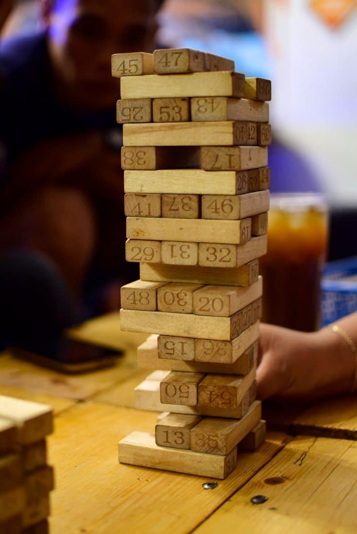 jenga tower of blocks