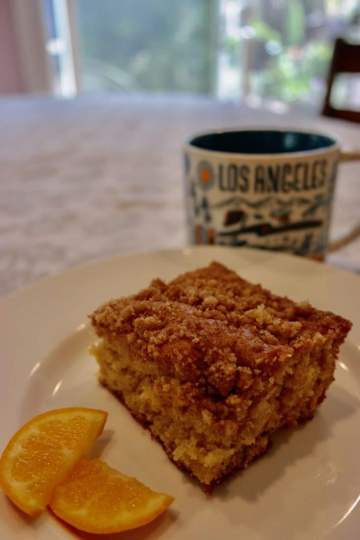 LAUSD Coffee cake set by a cup of coffee