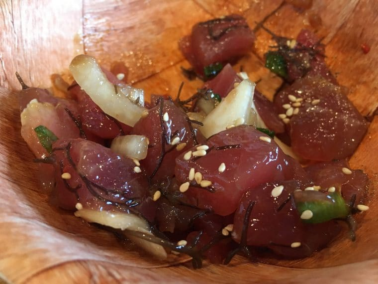 poke, a dish made with raw fish