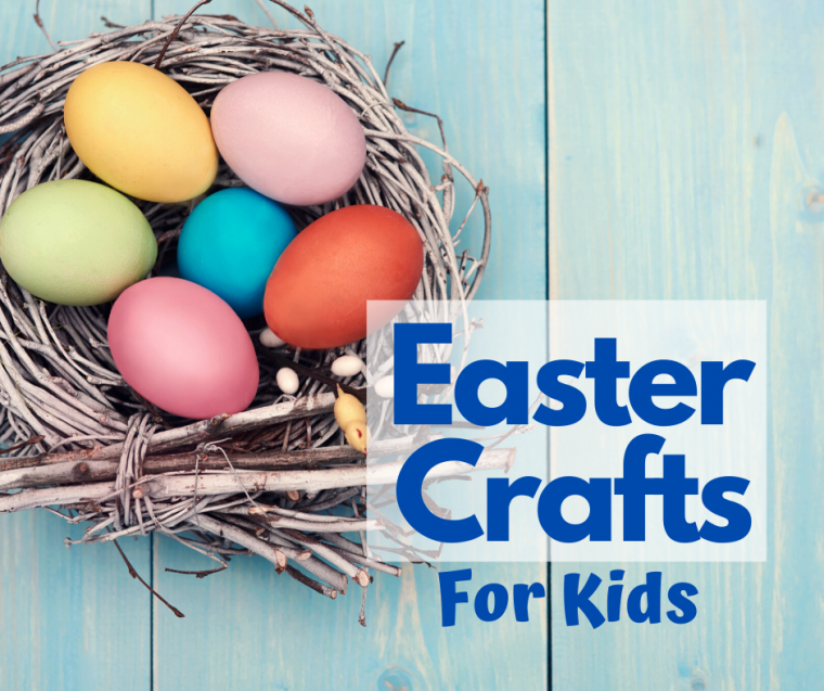 easter crafts for kids - colored easter eggs in a nest