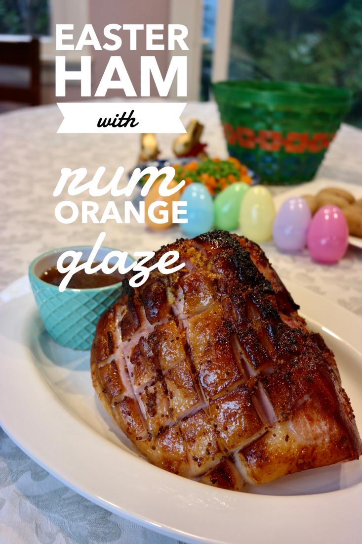 easter ham with rum orange glaze recipe Pinterest image
