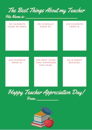 green teacher appreciation form
