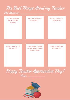 pink teacher apprecation form