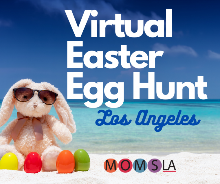 virtual egg hunt bunny on the beach