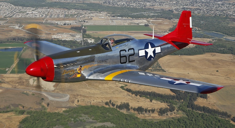 P-51 Bunny airplane in the sky courtesy of Palm Springs air museum