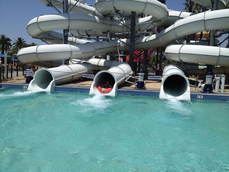 triple water slide at knott's soak city
