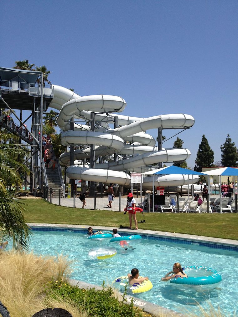 water slide at Knott's soak city with lazy river in foreground