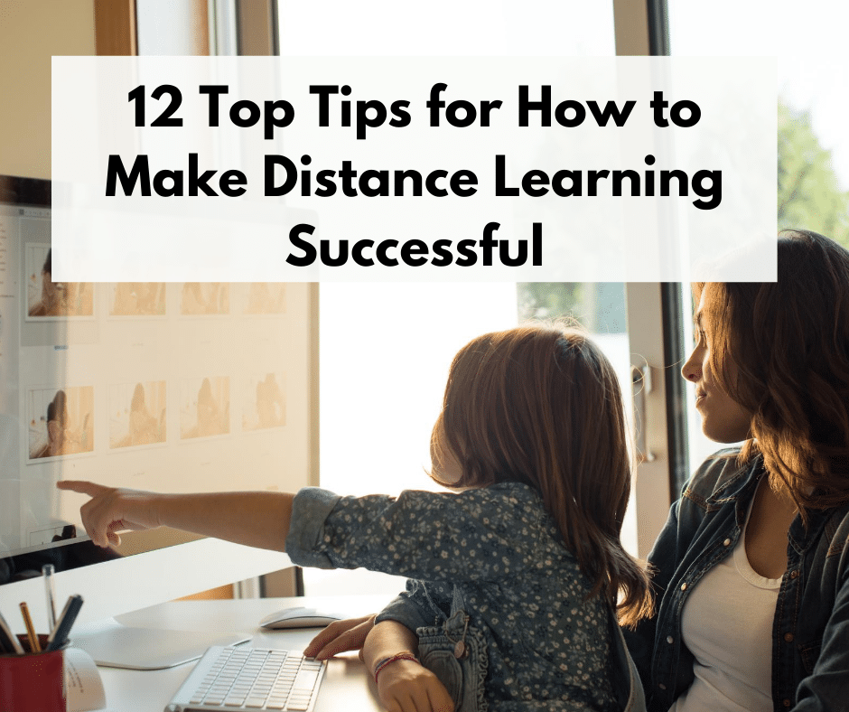tips for success distance learning with white mom and daughter