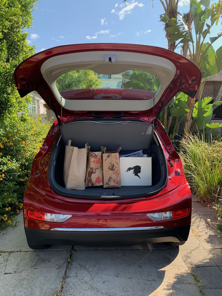 Chevy Bolt EV filled with my groceries from Trader Joe's