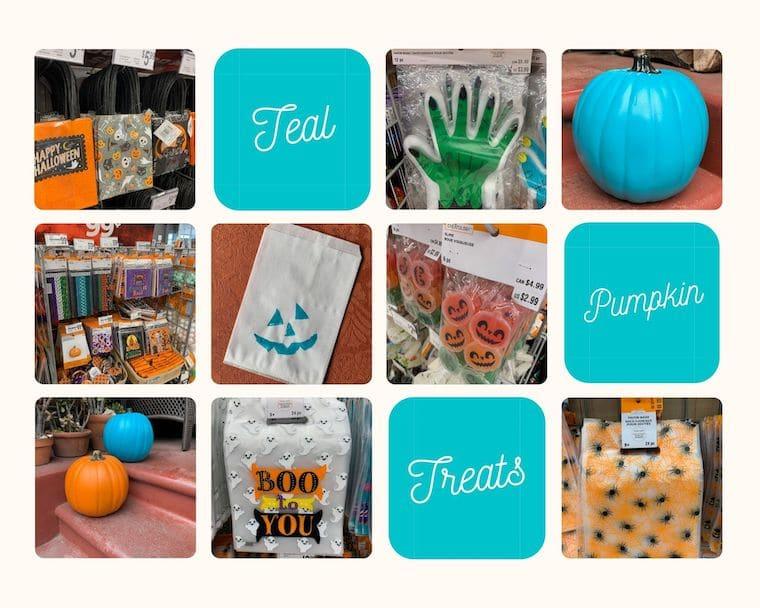 teal pumpkin treats collage