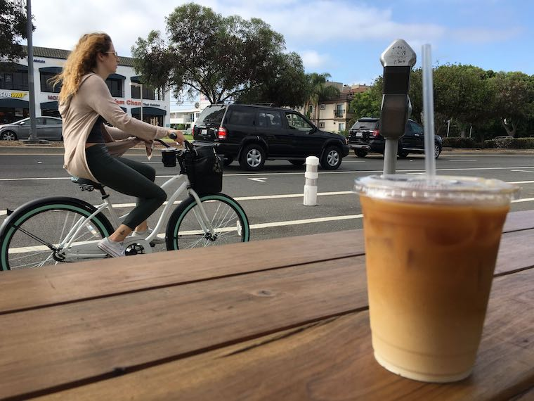 iced coffee outdoors at Alana's Coffee Roasters in Mar Vista