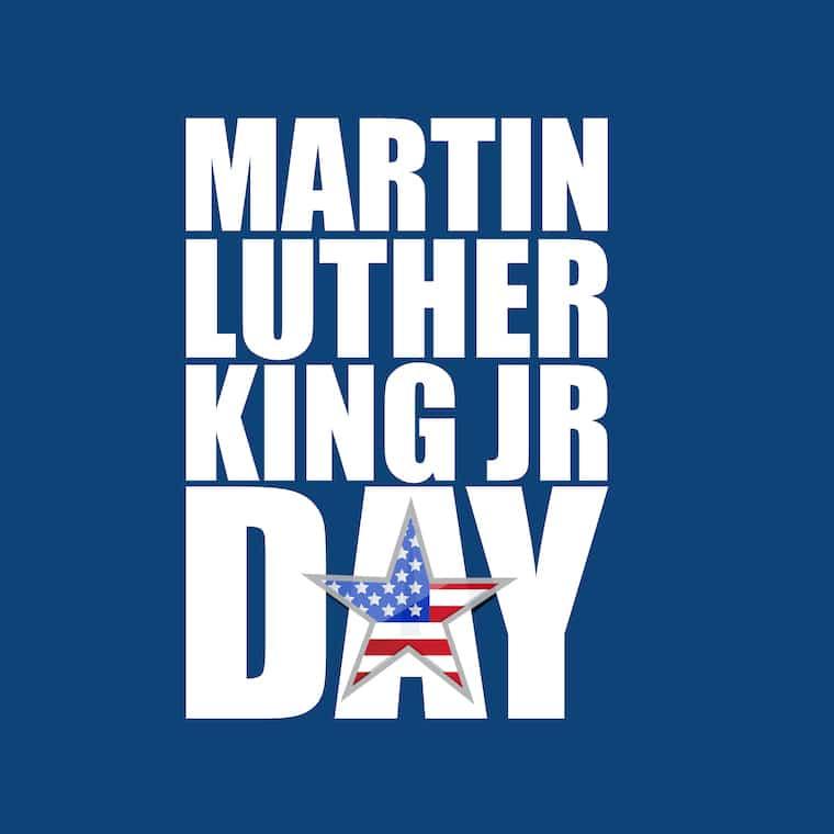 Martin Luther King JR day sign blue background illustration