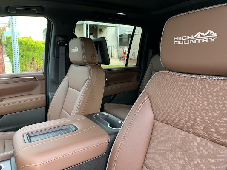 Interior of the 2021 Chevy Suburban High Country showing the embroidery on the seats