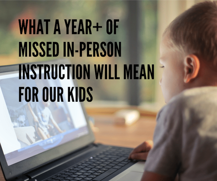 a child looking at a computer screen - essay what a year of missed instruction will mean to our kids