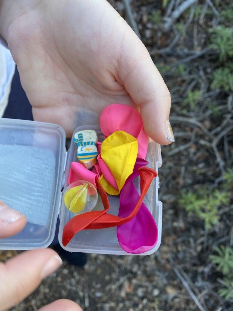 Close-up of geocaching trinkets, photo courtesy of Julia Frey