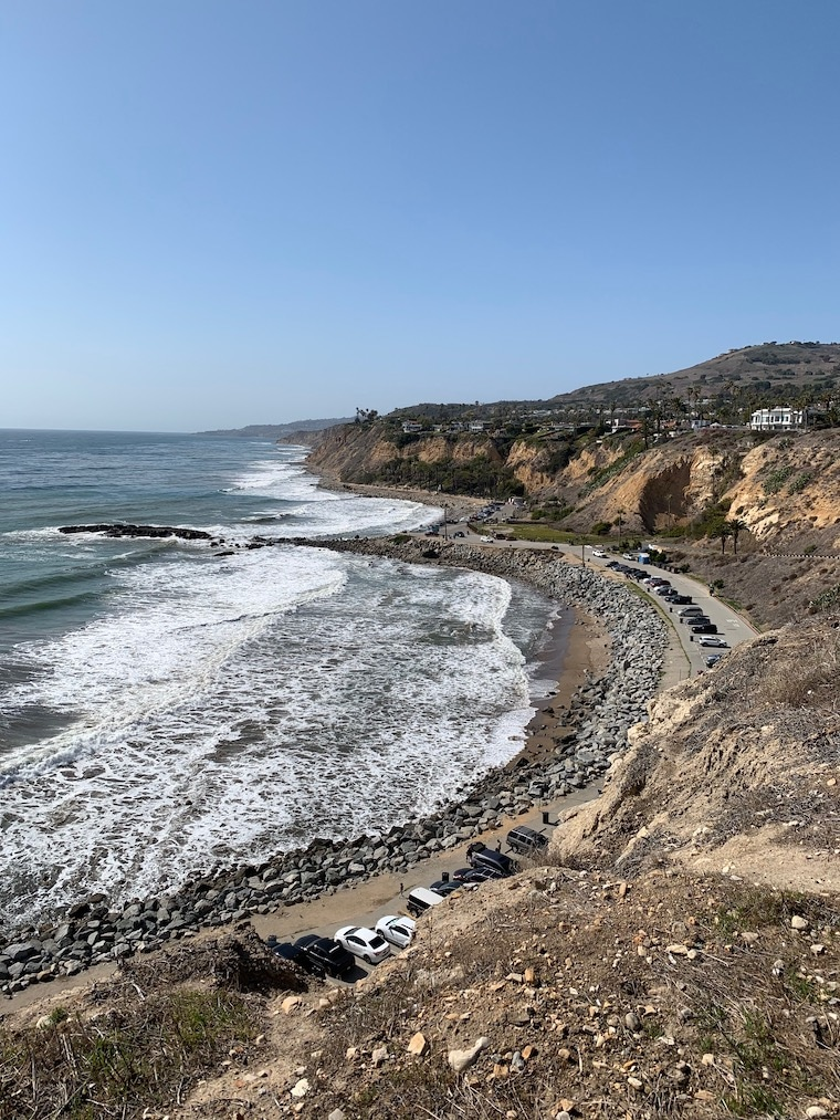 view of the southern California coastline from high on a cliff at White Point Park and State Beach in San Pedro