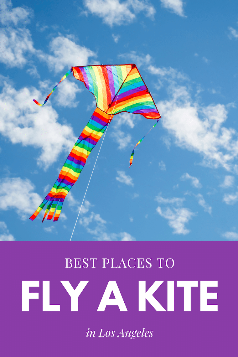 colorful kite flying in a blue sky text: best places to fly a kite in Los Angeles