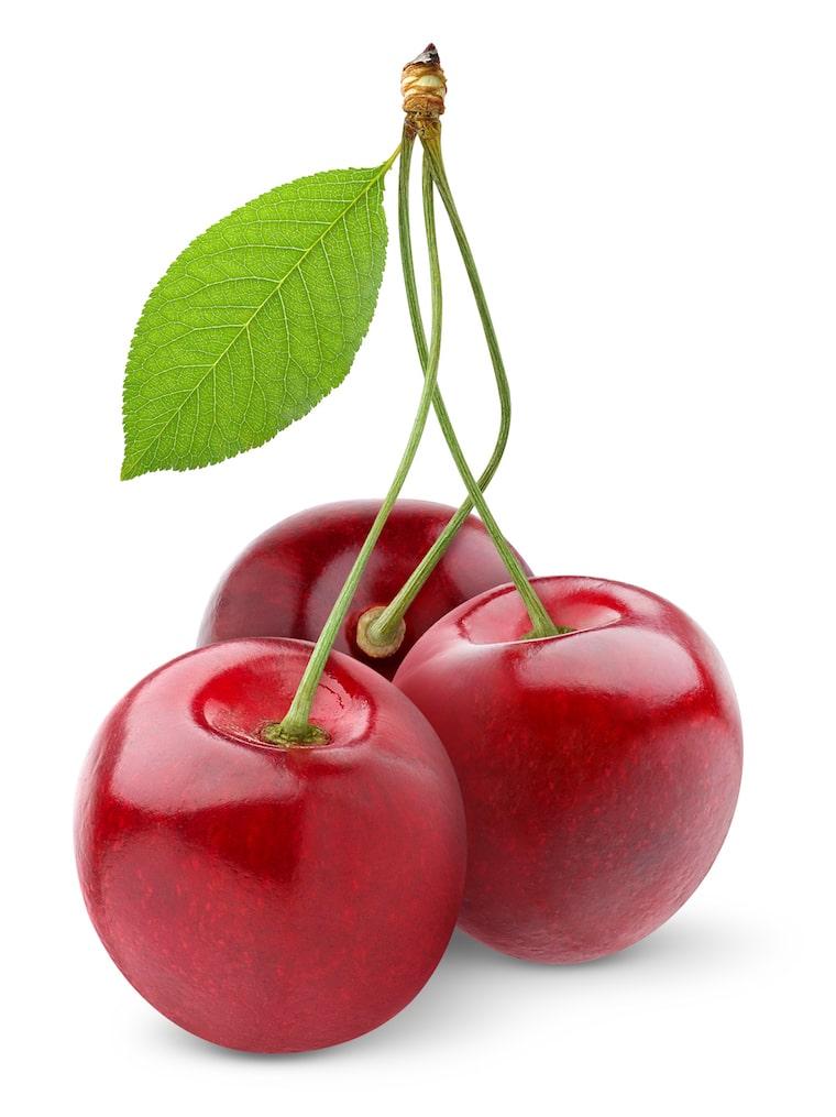 3 perfect cherries white background