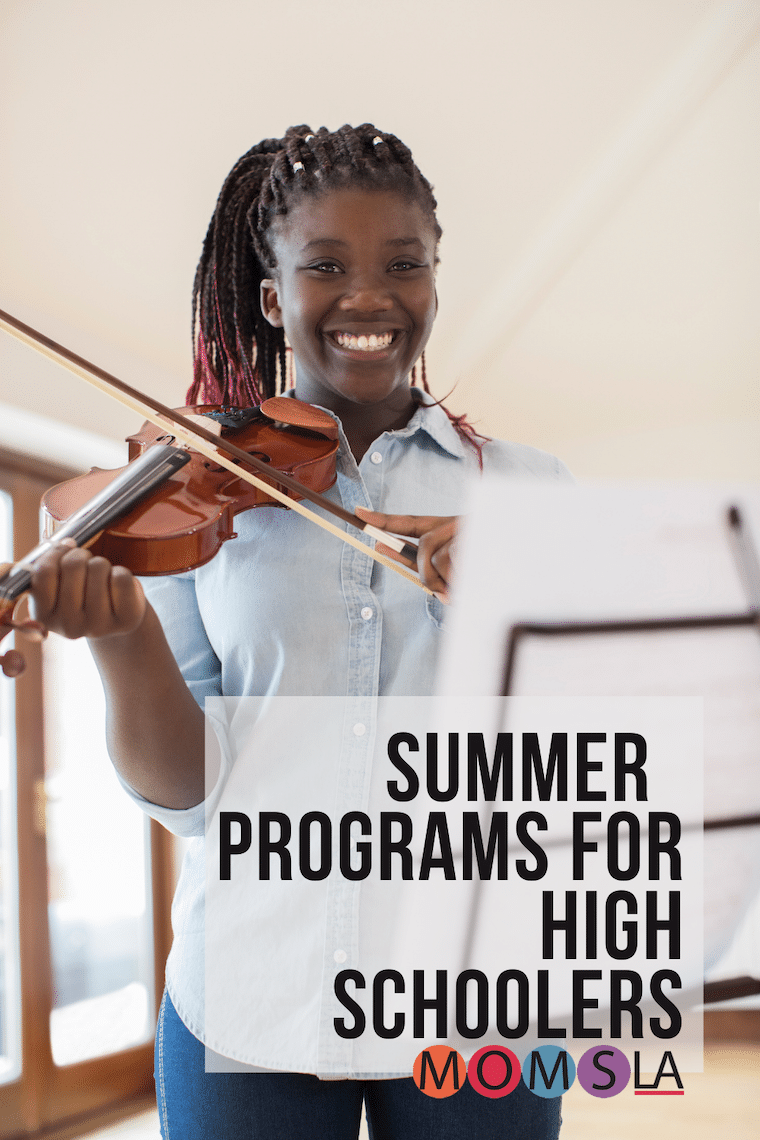 African American girl playing violin text Summer programs for high school kids