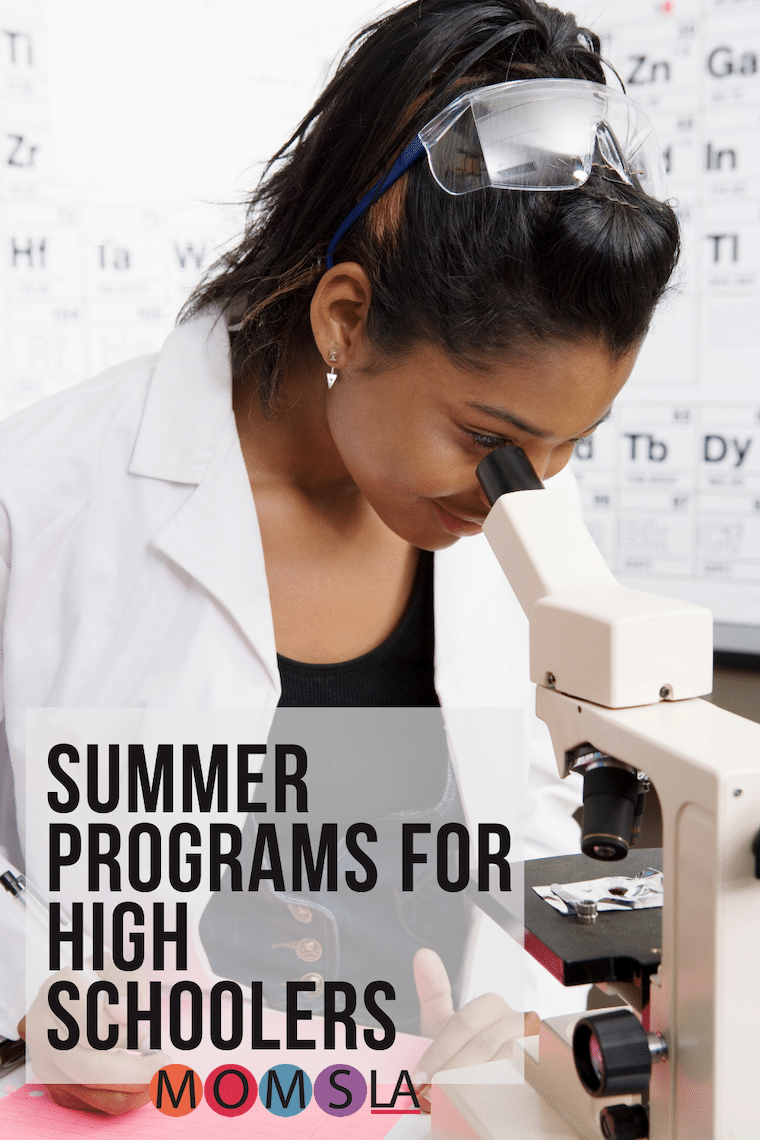 Latina girl looking in microscope text Summer programs for high school kids