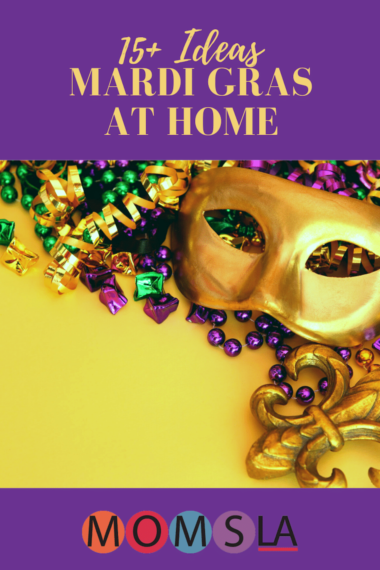 gold mask and beads text ideas to celebrate Mardi Gras at home